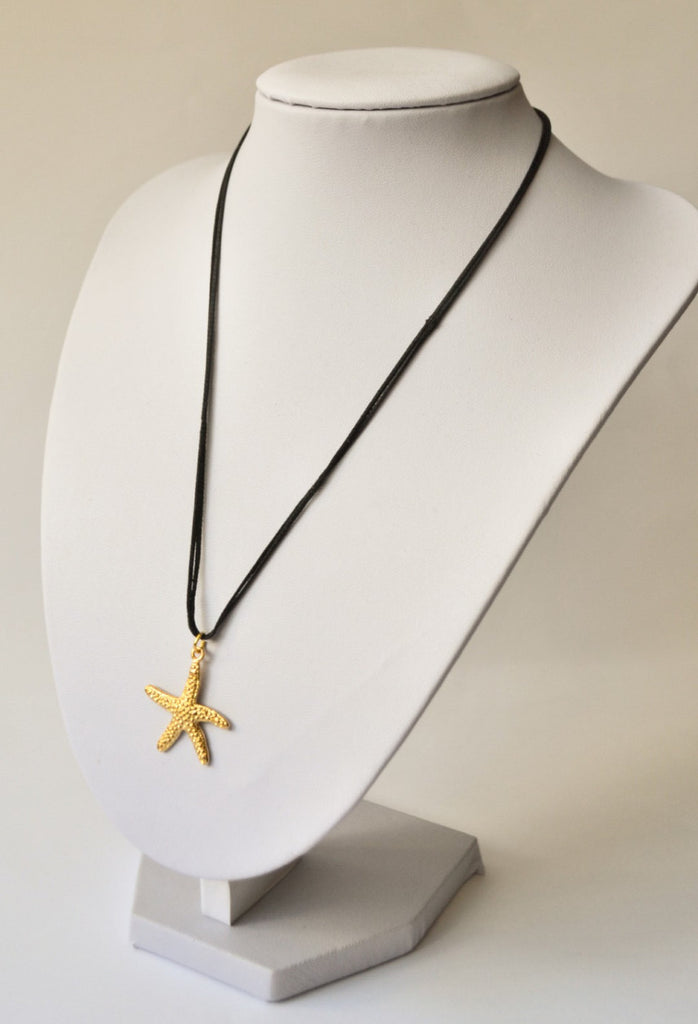 Starfish necklace, gold sea star necklace on a black wax cord, gold pendant. gift for her, gold necklace, nautical jewelry, starfish charm