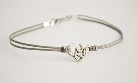 OM bracelet, men's bracelet with Tibetan silver Om charm, Hindu symbol, gray cord, bracelet for men, gift for him, yoga bracelet, buddhist