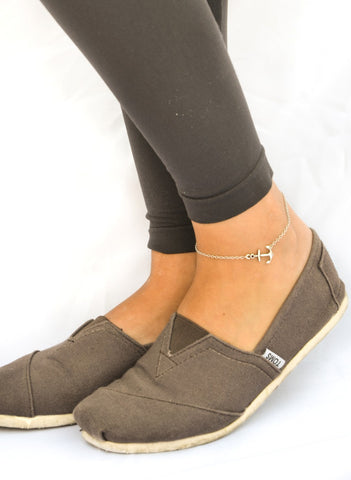 Dainty silver chain anklet with silver anchor charm - shani-adi-jewerly