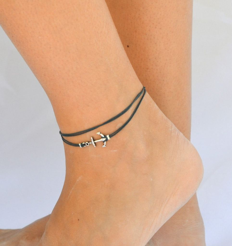 Nautical wrapped anchor anklet with blue cord - shani-adi-jewerly