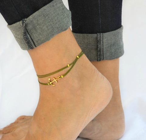 Green dainty anklet with a gold anchor charm and gold beads - shani-adi-jewerly