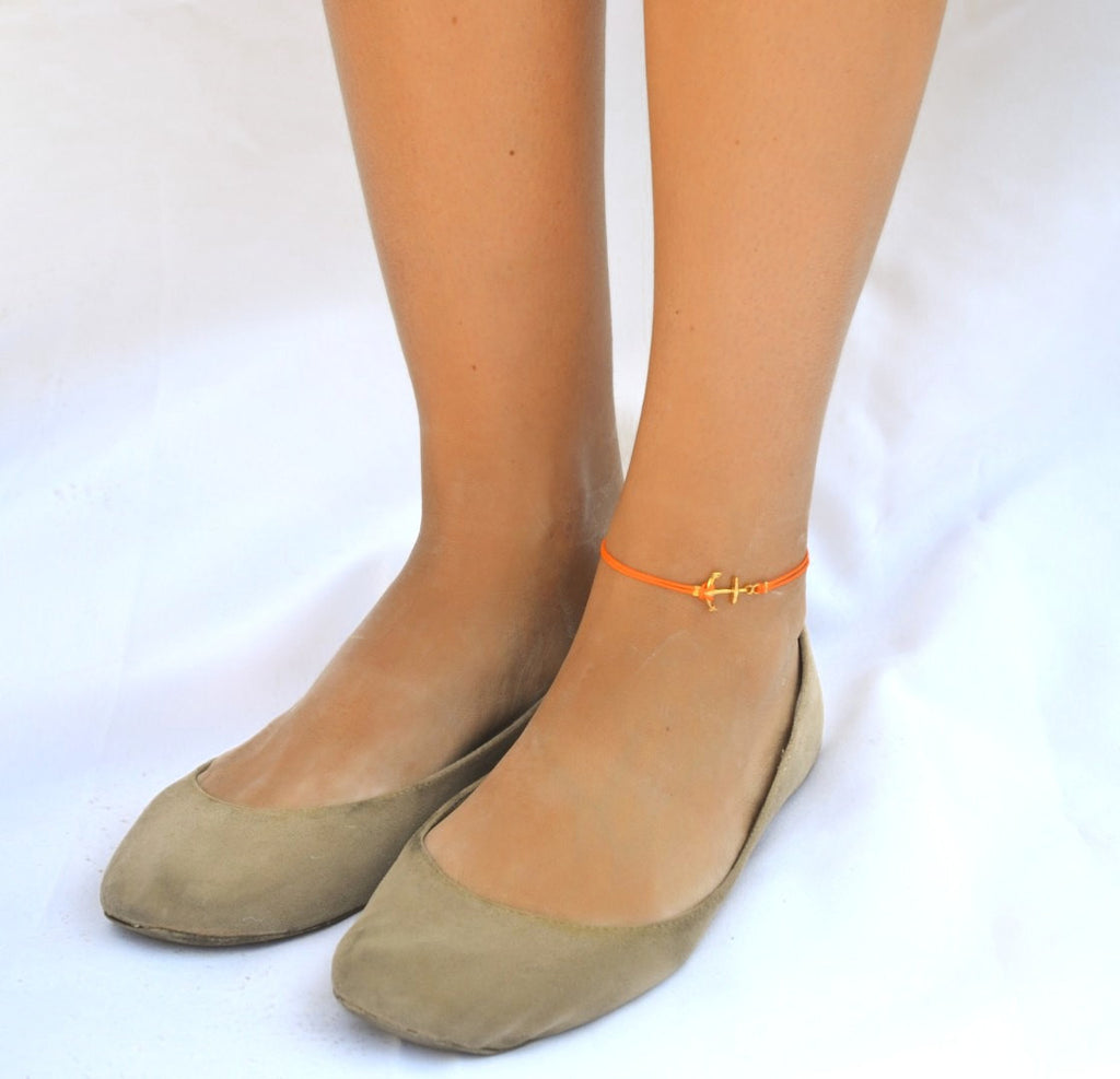 Gold anchor anklet, orange cord - shani-adi-jewerly