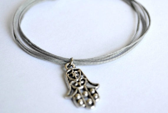 Gray cord bracelet with a hamsa charm - shani-adi-jewerly