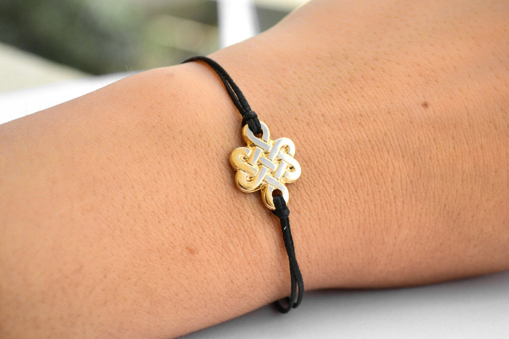 Infinity bracelet, black cord bracelet with gold endless knot charm, spiritual yoga bracelet, Tibetan chinese celtic knot, mother's day gift