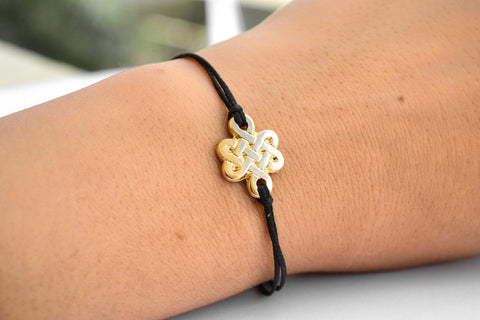 Gold Infinity bracelet for women, endless celtic knot bracelet, black string - shani-adi-jewerly