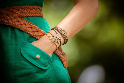 Brown bracelet with gold anchor charm - shani-adi-jewerly