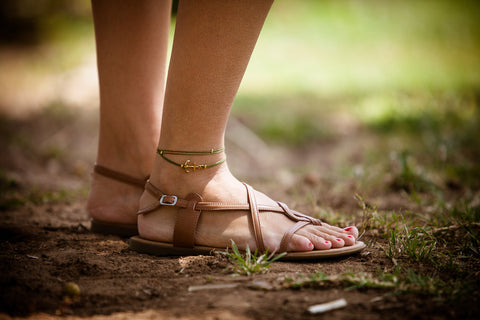 Green cord wrapped anklet with a gold anchor charm - shani-adi-jewerly