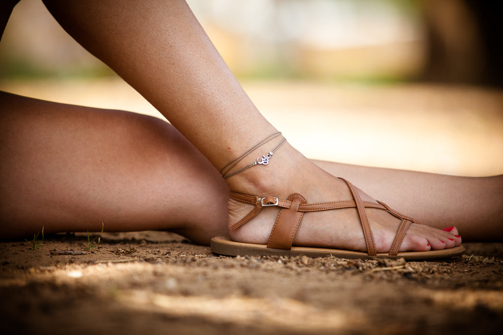 Om wrap anklet with brown cord - shani-adi-jewerly