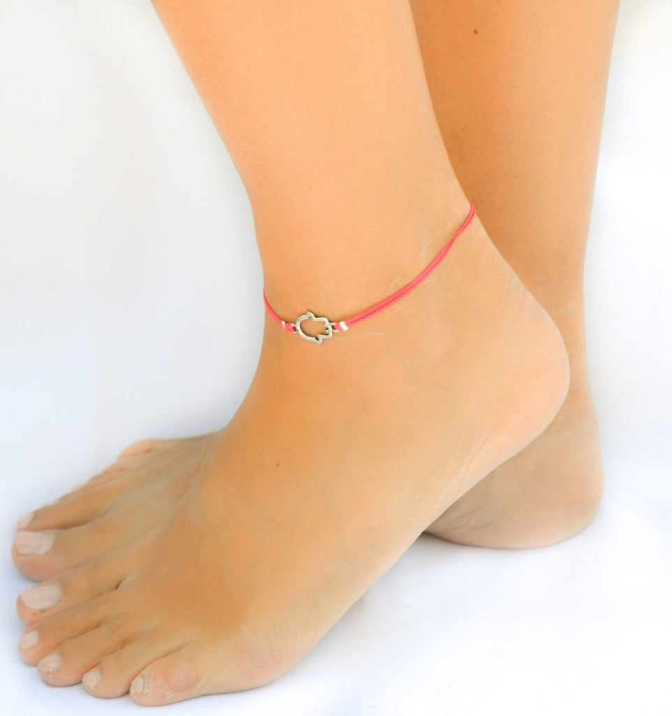 Pink dainty cord anklet with a silver Hamsa charm - shani-adi-jewerly