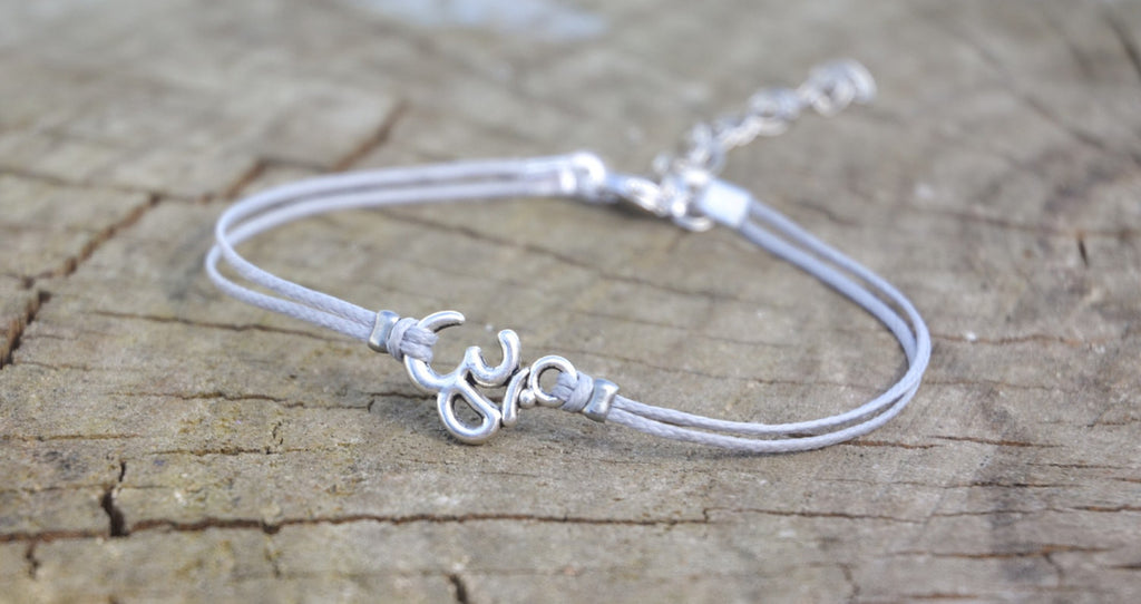 Om anklet, dainty gray cord anklet with silver Om charm, ankle bracelet, gift for her, minimalist jewelry, beach, yoga, hindu, summer
