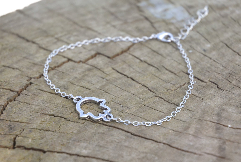 Stainless steel chain anklet with silver plated Hamsa charm - shani-adi-jewerly