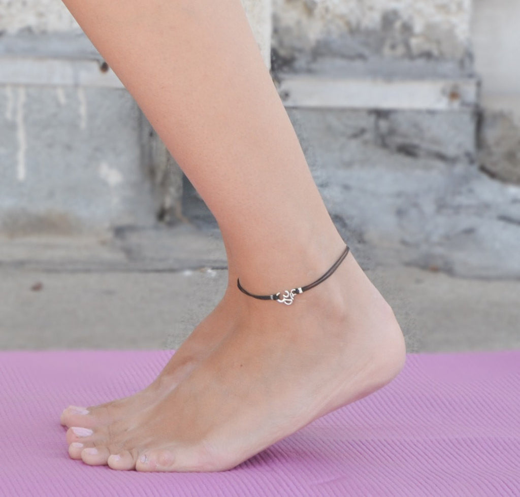 Dainty black cord anklet with silver Om charm - shani-adi-jewerly