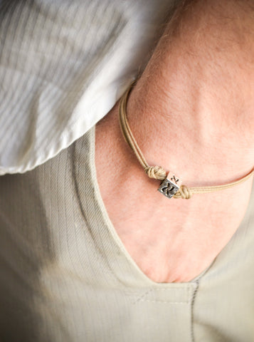 Initial bracelet for men with brown cord - shani-adi-jewerly