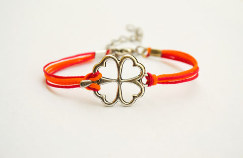 Clover friendship bracelet for girls, pink and orange cords, Tibetan silver shamrock charm, two colors bracelet for kids, children's jewelry