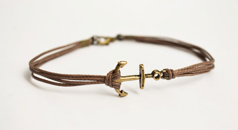 Bronze anchor cord bracelet, brown cord