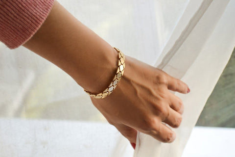 Bold geometric flat gold chain bracelet - shani-adi-jewerly