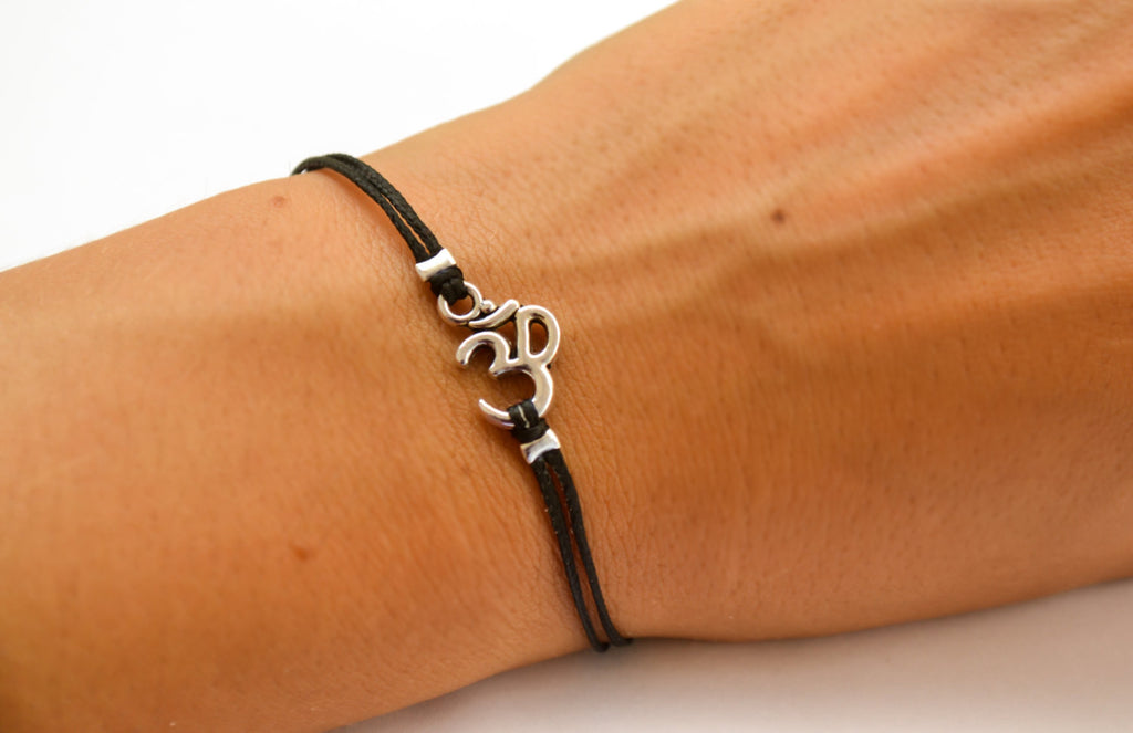 Women bracelet with Tibetan silver Om charm - shani-adi-jewerly