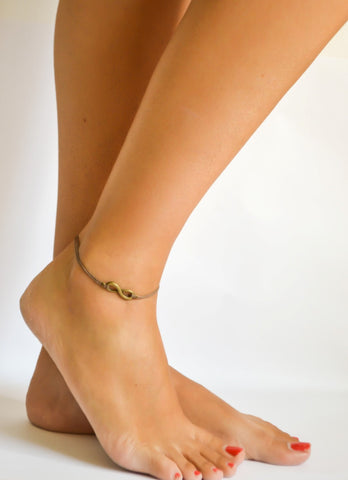 Delicate brown cord anklet with bronze infinity charm - shani-adi-jewerly
