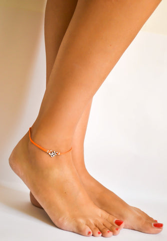 Orange cord anklet with silver Om charm - shani-adi-jewerly