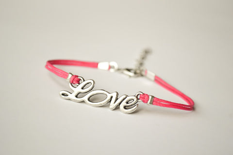 Pink cord bracelet with a silver love charm - shani-adi-jewerly