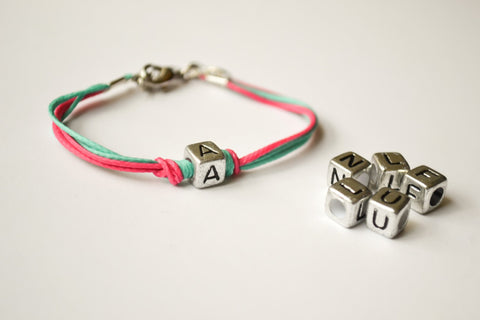 Initial bracelet for children, pink and turquoise cord Bracelet with Tibetan silver english letter charm, children gift, teal and pink jewel