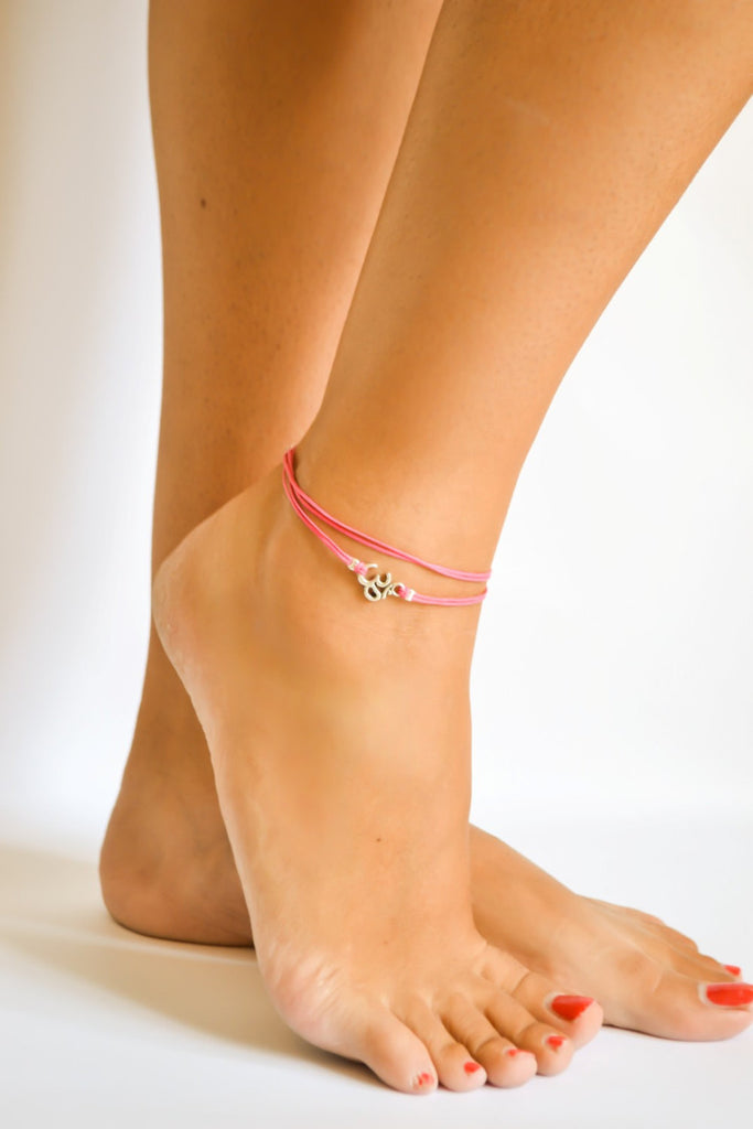 Om wrap anklet, pink cord anklet with silver Om charm, ankle bracelet, gift for her, minimalist jewelry, beach, yoga, hindu, summer, beach