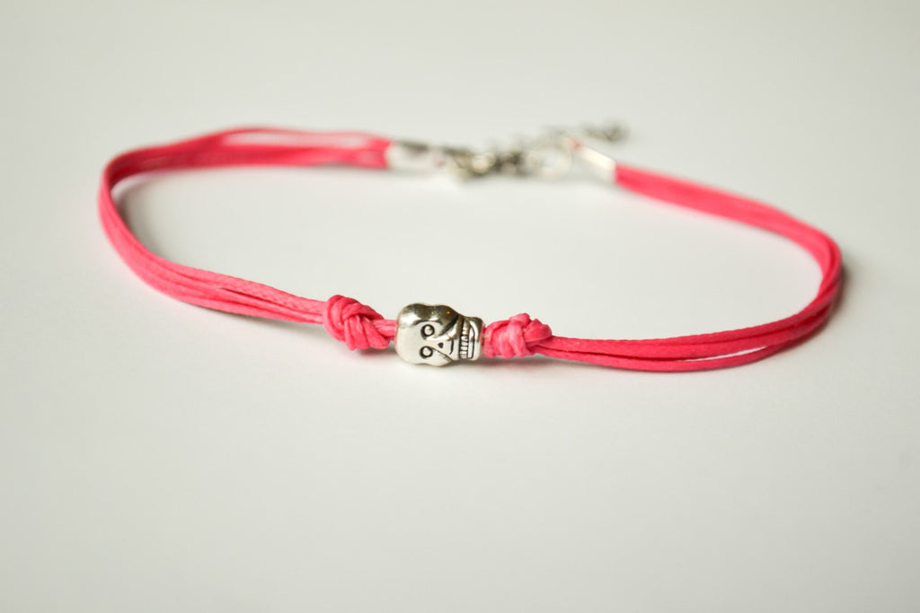 Pink skull bracelet, dainty cord bracelet with a silver skull charm, pink bracelet, gift for her, skeleton, beach jewelry, minimalist
