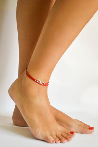 Infinity wrap anklet, dainty red cord anklet with silver infinity charm, ankle bracelet, gift for her, minimalist jewelry, beach, yoga, zen
