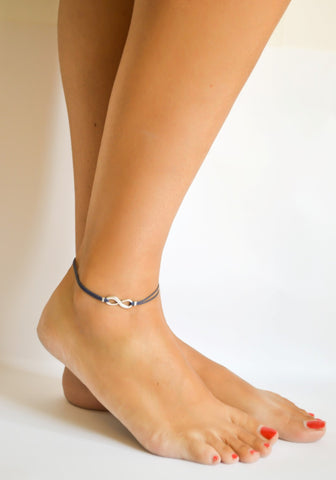 Dainty blue cord anklet with silver infinity charm - shani-adi-jewerly