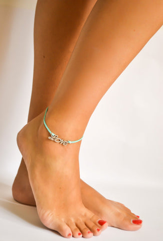 Dainty turquoise cord anklet with a silver love charm - shani-adi-jewerly