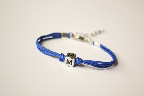 Initial bracelet for children, blue cord Bracelet with Tibetan silver english letter charm, bracelet for kids, royal blue, gift for girl