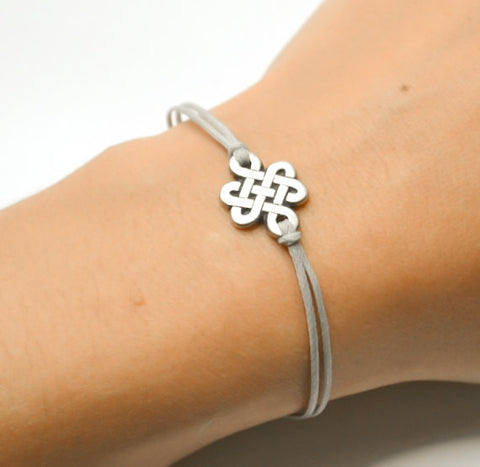 Yoga bracelet with a silver endless knot charm - shani-adi-jewerly
