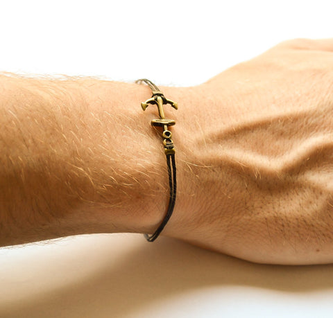 Men's bracelet with a bronze anchor charm, black cord - shani-adi-jewerly