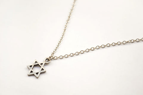 Silver Star Of David charm necklace for women, stainless steel chain - shani-adi-jewerly