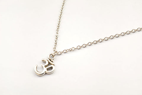 Silver Om charm women's necklace, stainless steel - shani-adi-jewerly