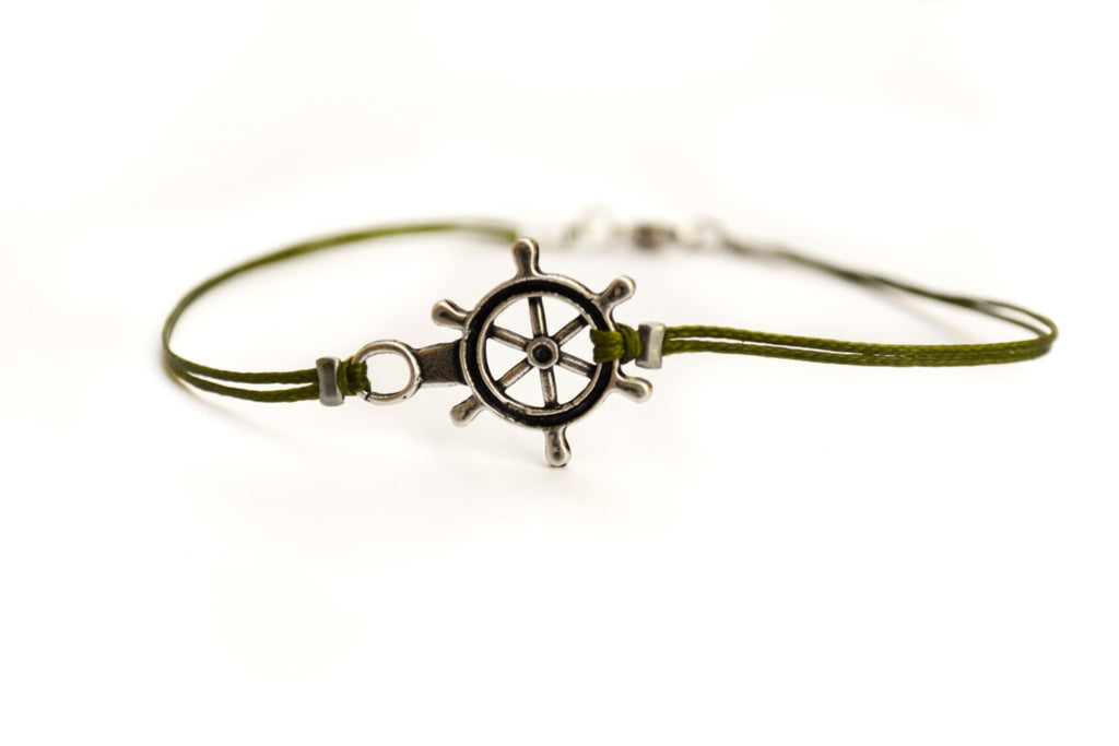 Silver Ship wheel bracelet for men, green cord - shani-adi-jewerly