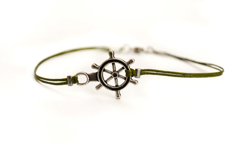 Silver Ship wheel bracelet for men, green cord