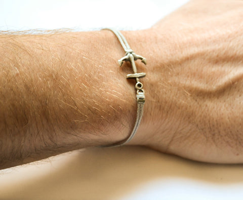 Silver anchor bracelet for men, gray wristband, men's bracelet - shani-adi-jewerly