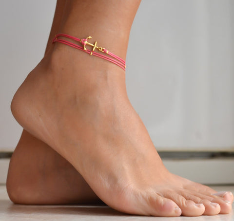 Anchor anklet, pink dainty wrap anklet with a gold anchor charm, pink ankle bracelet, gift for her, nautical, sailing, minimalist jewelry