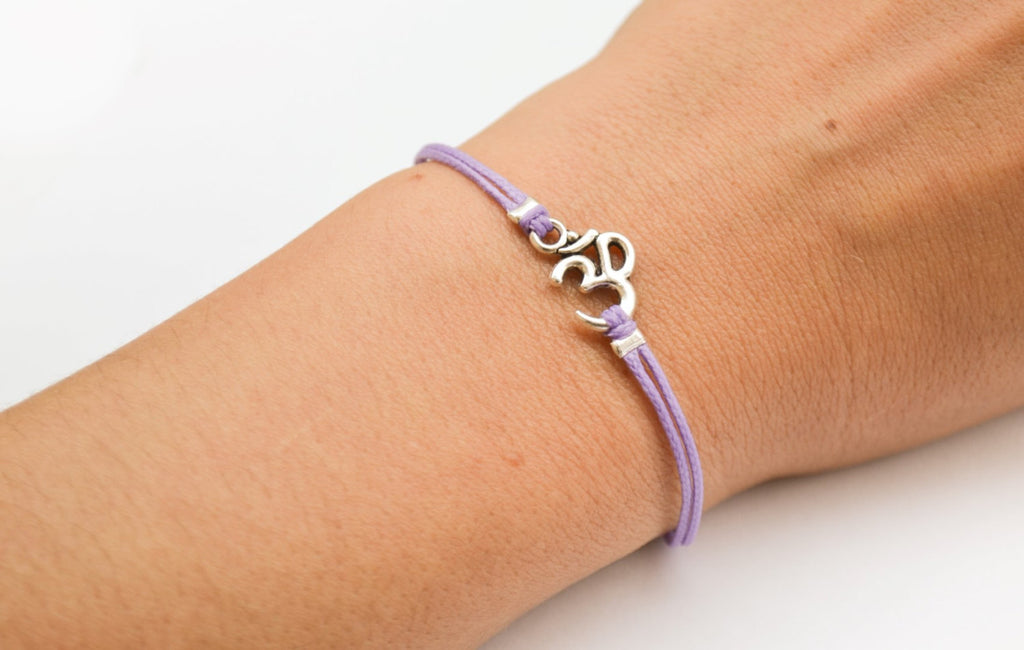 Purple bracelet with Tibetan silver Om charm - shani-adi-jewerly