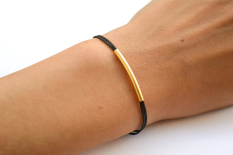Gold bar bracelet, black cord - shani-adi-jewerly