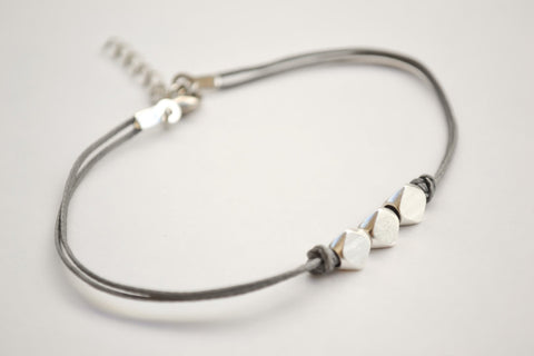 Silver nuggets bracelet, gray cord - shani-adi-jewerly