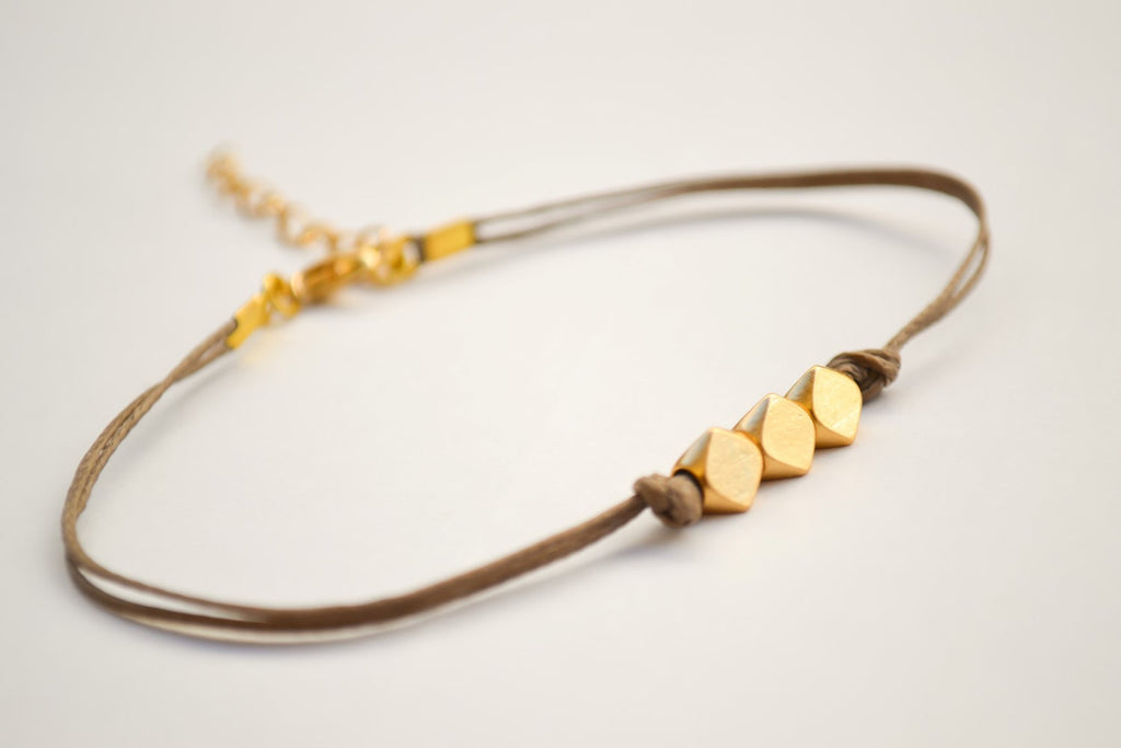 Brown cord gold nuggets bracelet - shani-adi-jewerly