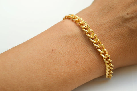24k gold plated link chain bracelet for women - shani-adi-jewerly