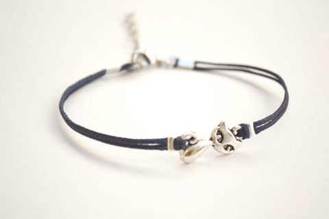 Cat bracelet, blue cord bracelet with a silver cat charm, animal jewelry, kitty charm bracelet, gift for cat lover, friendship bracelet