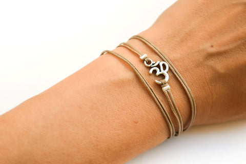 Sanskrit bracelet, wrapped brown strand with silver Om charm, Yoga - shani-adi-jewerly