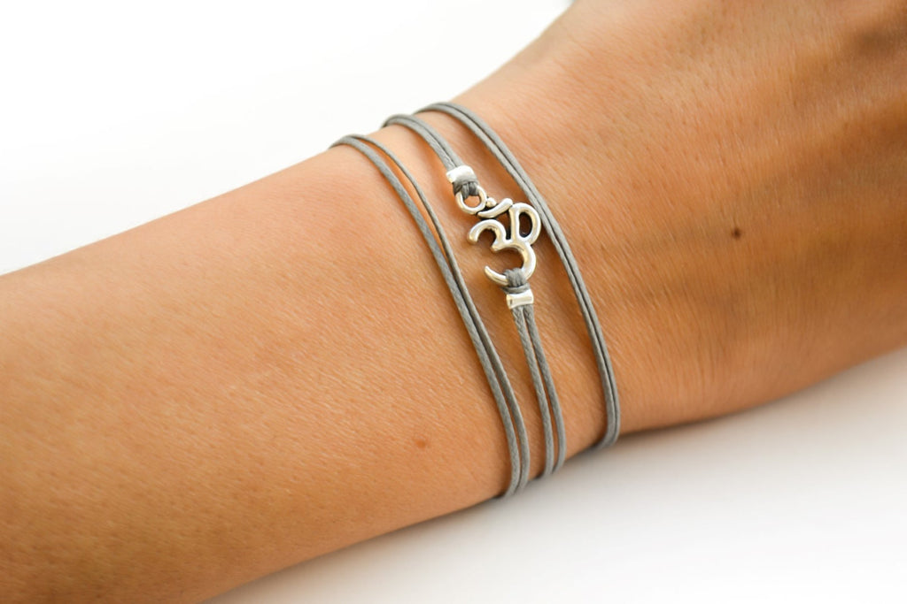 Wrapped om bracelet, gray cord - shani-adi-jewerly