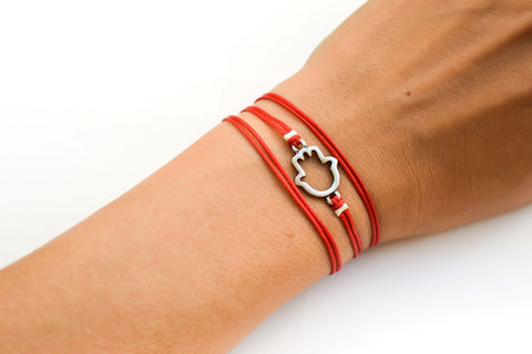 Red wrapped bracelet with a silver Hamsa charm, Kabbalah bracelet - shani-adi-jewerly