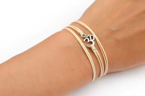 Silver Om bracelet, wrapped ohm bracelet, yoga jewelry, hindu synbol - shani-adi-jewerly