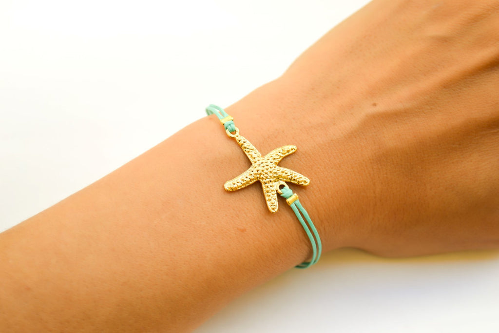Starfish bracelet, turquoise cord bracelet with a gold sea star charm, summer nautical jewelry, sea life, gift for her, beach gold bracelet